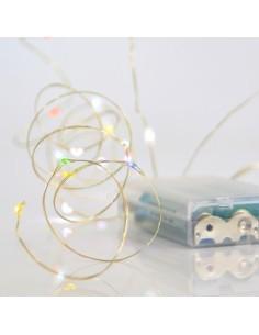 Λαμπάκια led εσωτερικού και εξωτερικού χώρου σειρά 20L, με σύρμα ασημί χαλκός , χρωματιστά με μπαταρία EUROLAMP CHR0014
