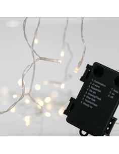 Λαμπάκια led εσωτερικού και εξωτερικού χώρου σειρά 20L, με διάφανο καλώδιο , θερμό λευκό χρώμα με μπαταρία και πρόγραμμα EURO...
