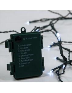 Λαμπάκια led εσωτερικού και εξωτερικού χώρου σειρά 96L, με πράσινο καλώδιο , λευκό χρώμα με μπαταρία και πρόγραμμα EUROLAMP C...