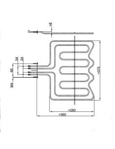 Αντιστάσεις Κουζίνας Άνω Μέρος - Αντίσταση με γκριλ (2900watt 220volt) άνω φούρνου κουζίνας AEG/ELECTROLUX....