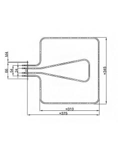 Αντιστάσεις Κουζίνας Άνω Μέρος - Αντίσταση με γκριλ (450watt 98volt+1050watt 220volt) άνω φούρνου κουζίνας CANDY