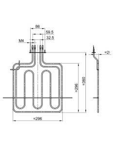Αντιστάσεις Κουζίνας Άνω Μέρος - Αντίσταση με γκριλ (2000+900 Watt, 220 Volt) άνω φούρνου κουζίνας ESKIMO/GORENJE