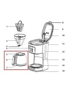 Κανάτα καφετιέρας γαλλικού καφέ CAFFEA 1095T IZZY original IZZY KAFKA0035